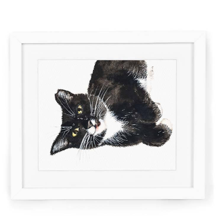 Momo the Tuxedo Cat Art Print