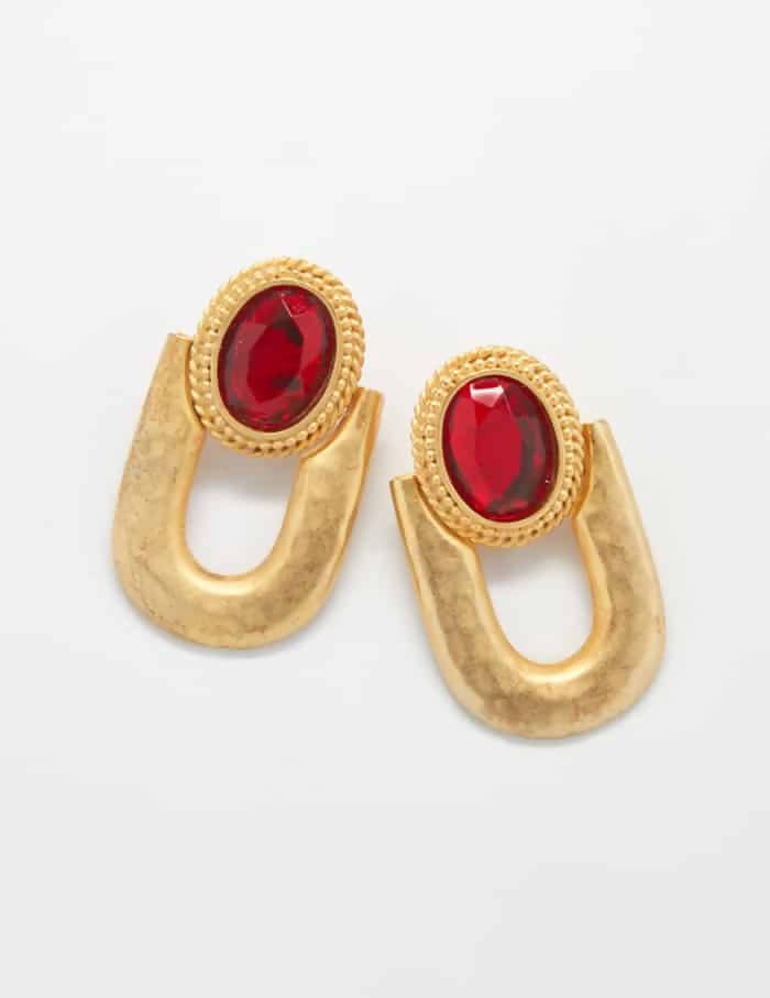 Ruby Vintage Drop Earrings