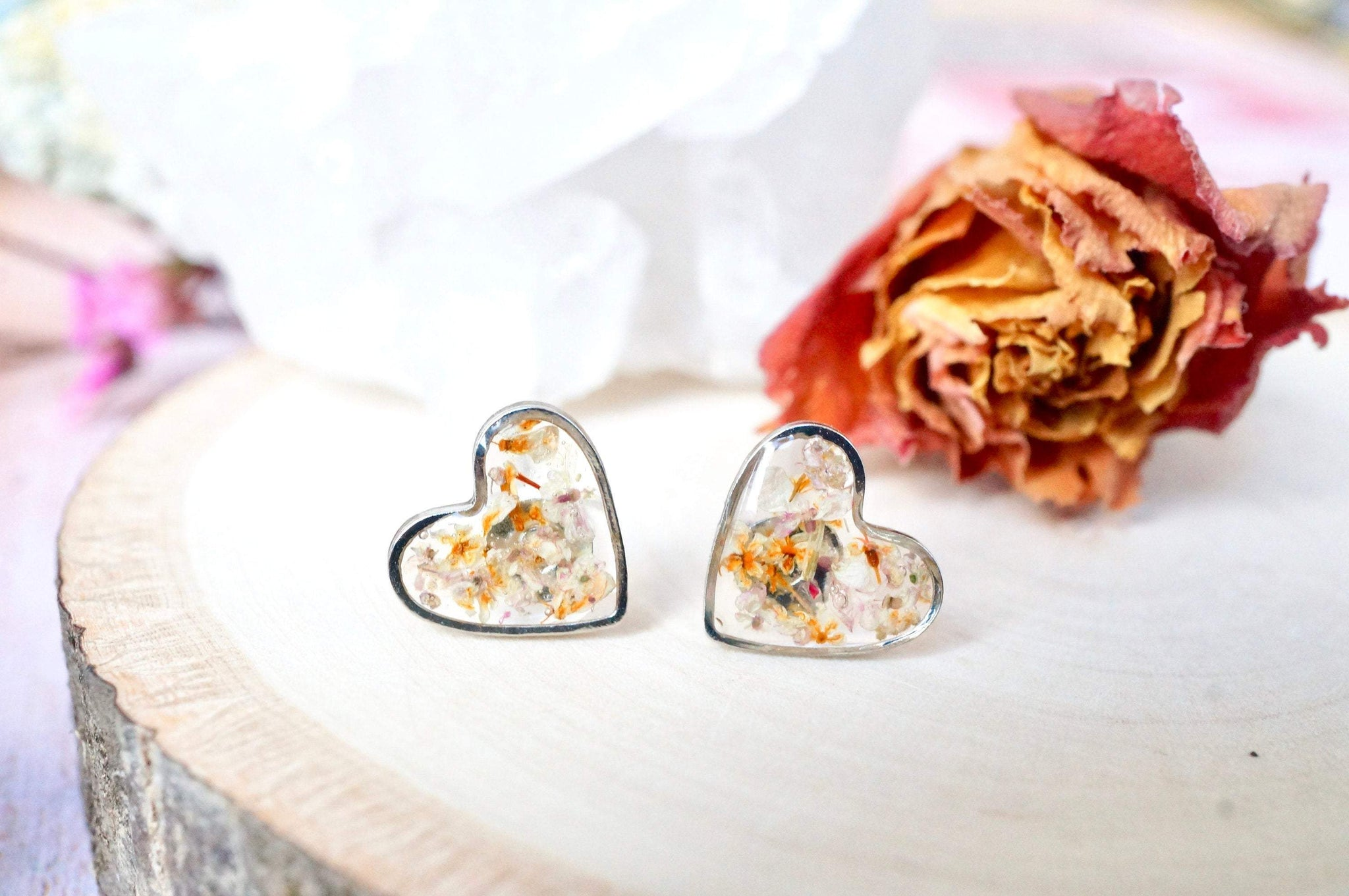 Real Pressed Flowers and Resin Stud Earrings, Silver Hearts in Orange and Pale Lavender