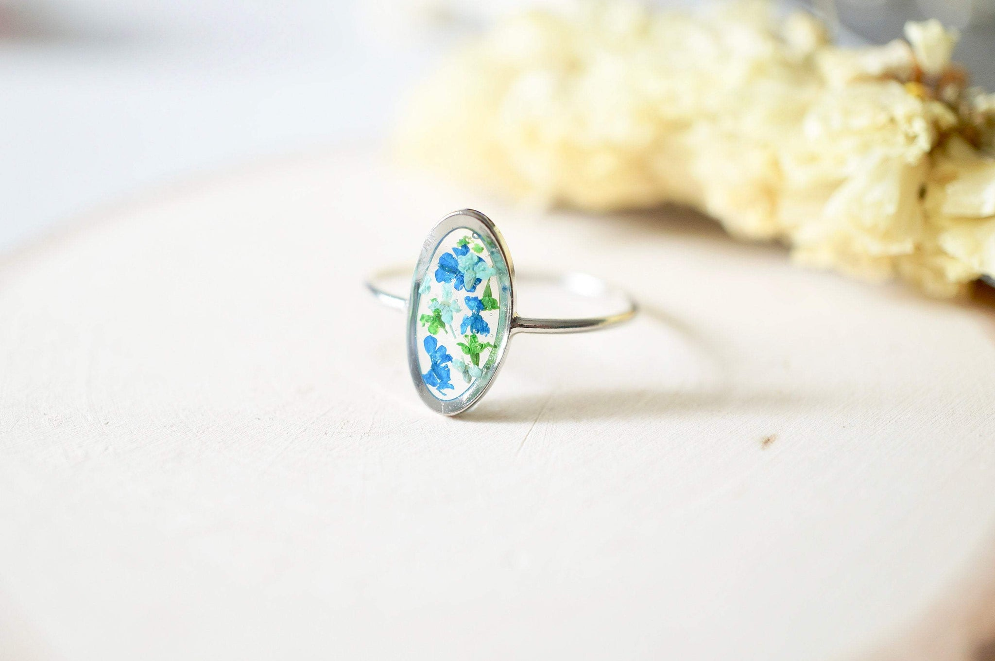 Real Pressed Flower and Resin Ring, Oval Silver Band in Blue Teal Green