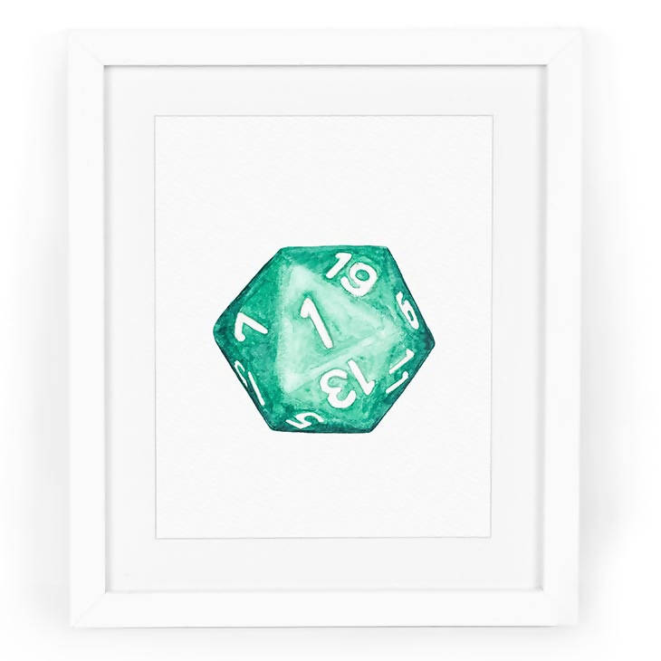 Natural 1 D20 Watercolor Art Print