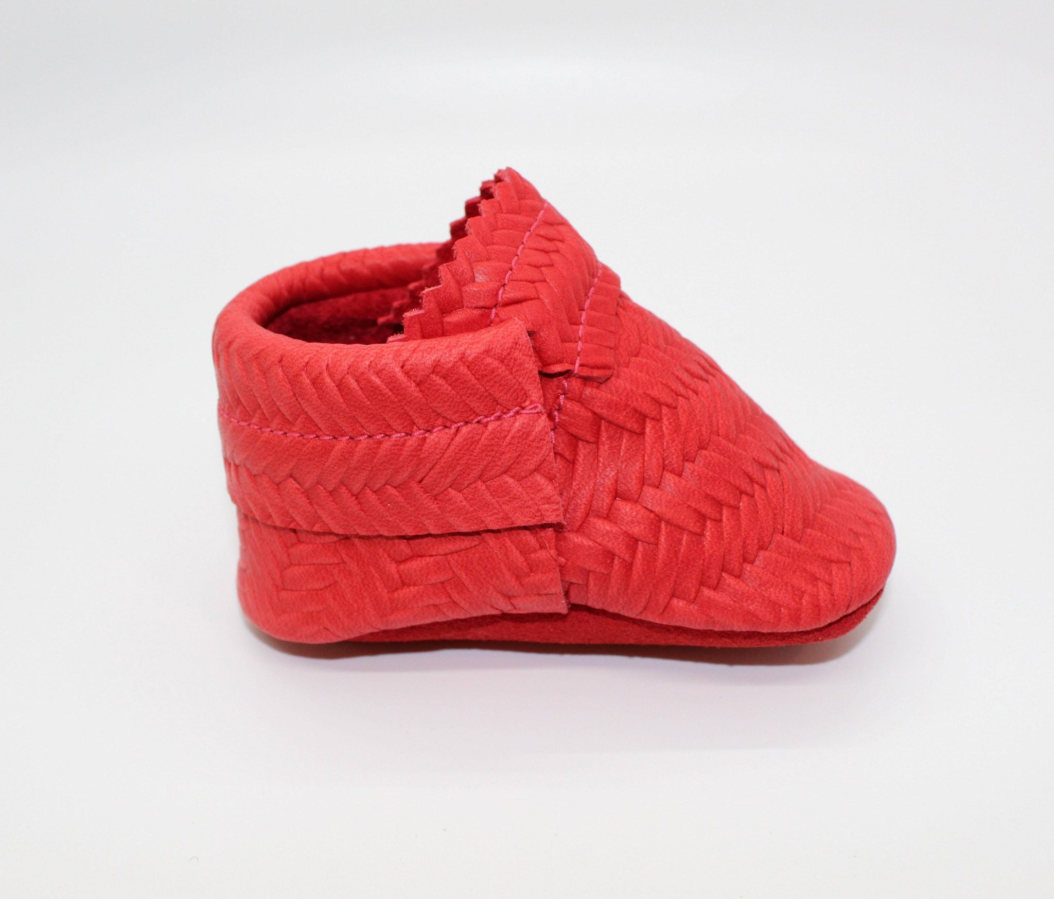Basketweave Red Moccs- Double Trouble