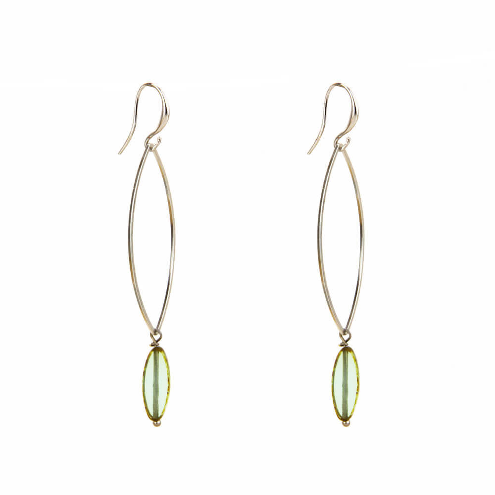 Turquoise Glass Marquise Silver Earring