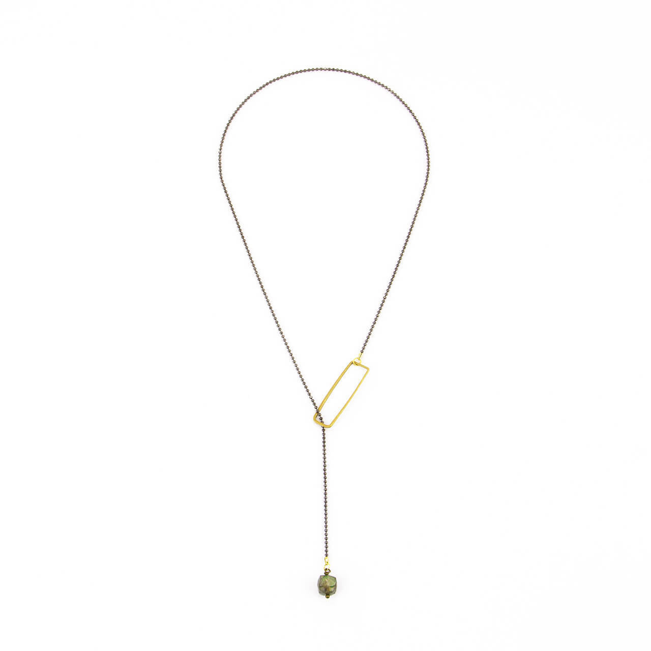 Rectangle Lariat with Labradorite Sugar Cube