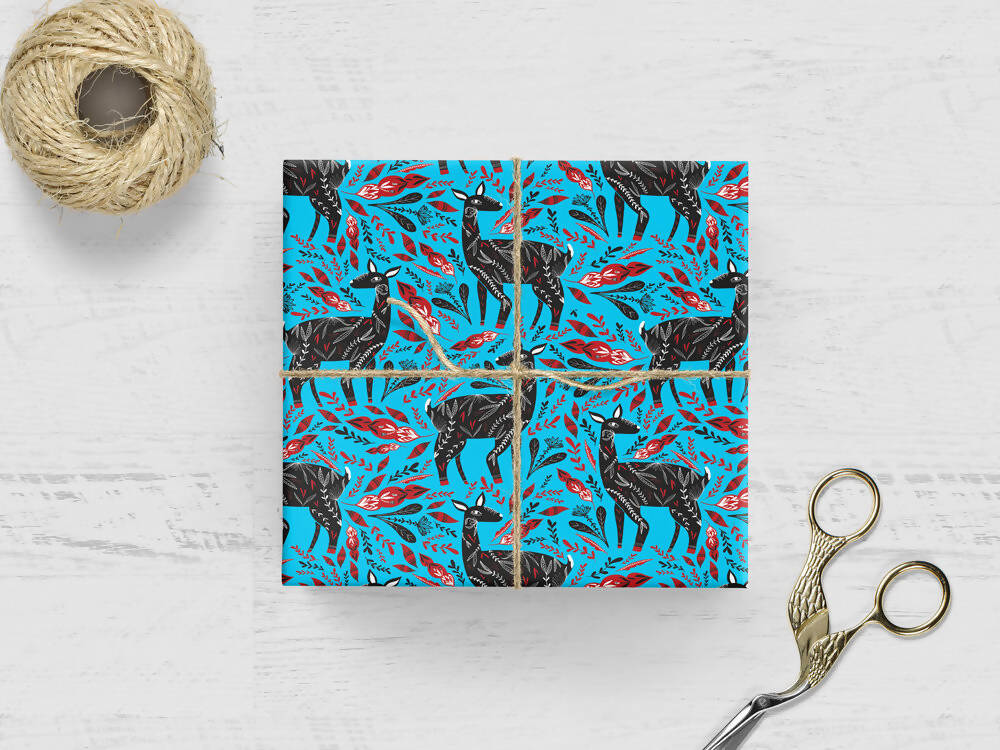 WINTER DEER WRAPPING PAPER