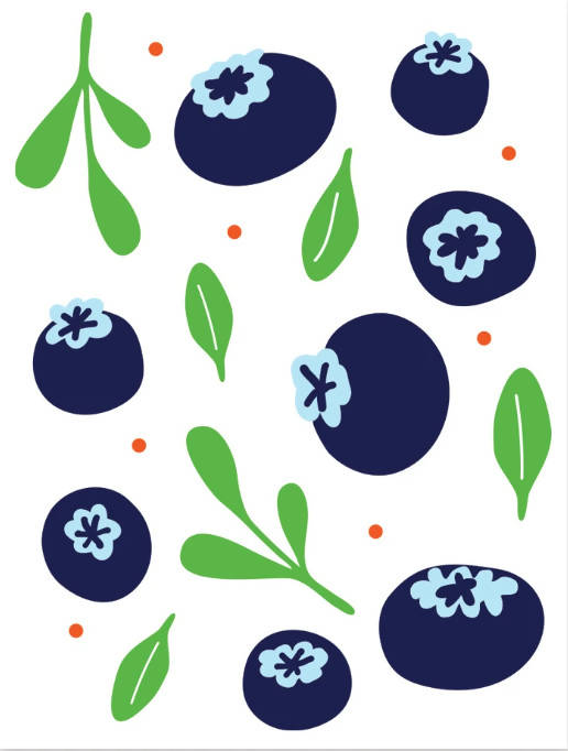 Art Print - Blueberry & Leaves