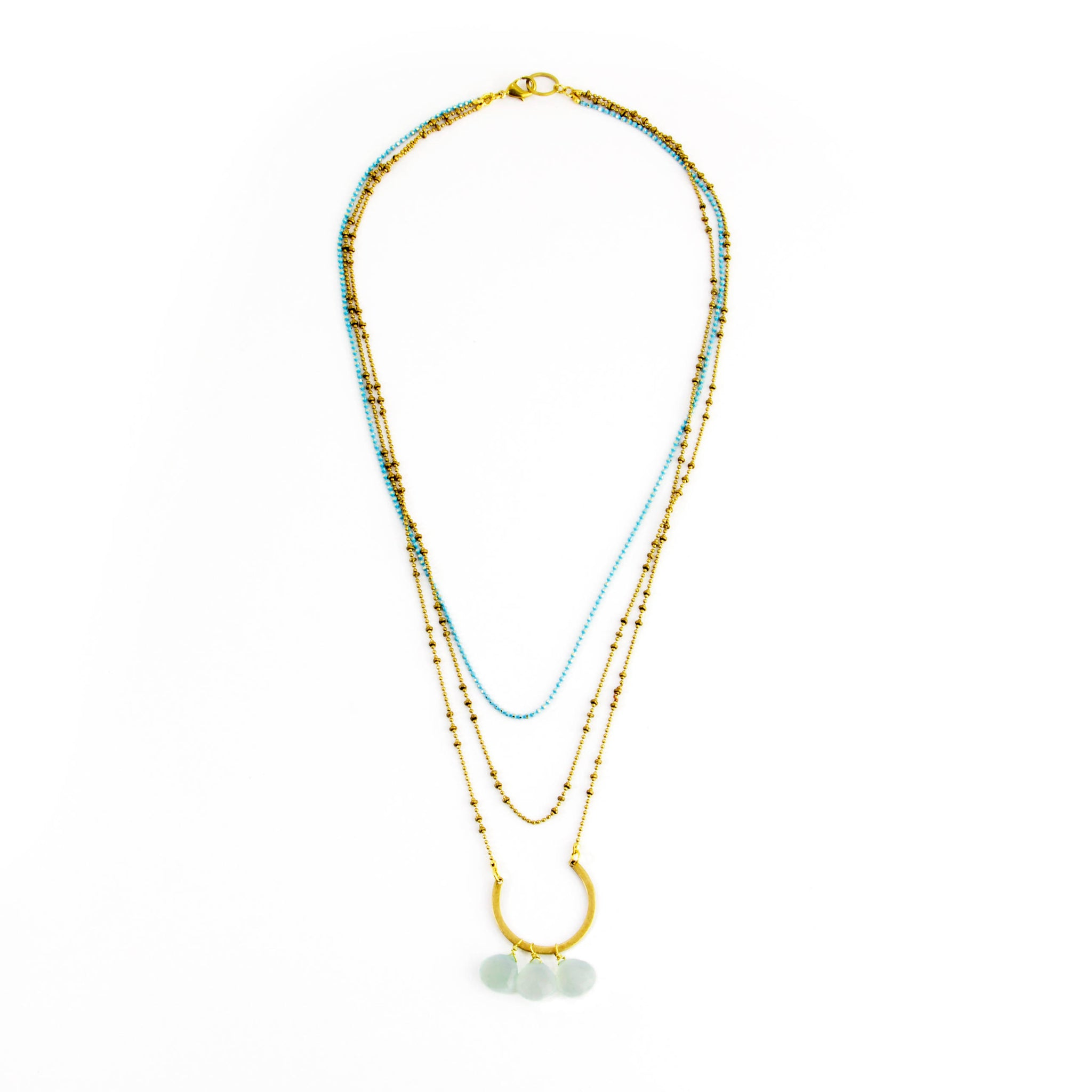 Triple Drape Stone Necklace – Aqua Chalcedony