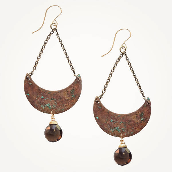 Earrings | Geometric | Copper Crescent Gemstone