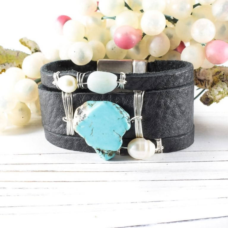 Black Leather and Turquoise Cuff Bracelet