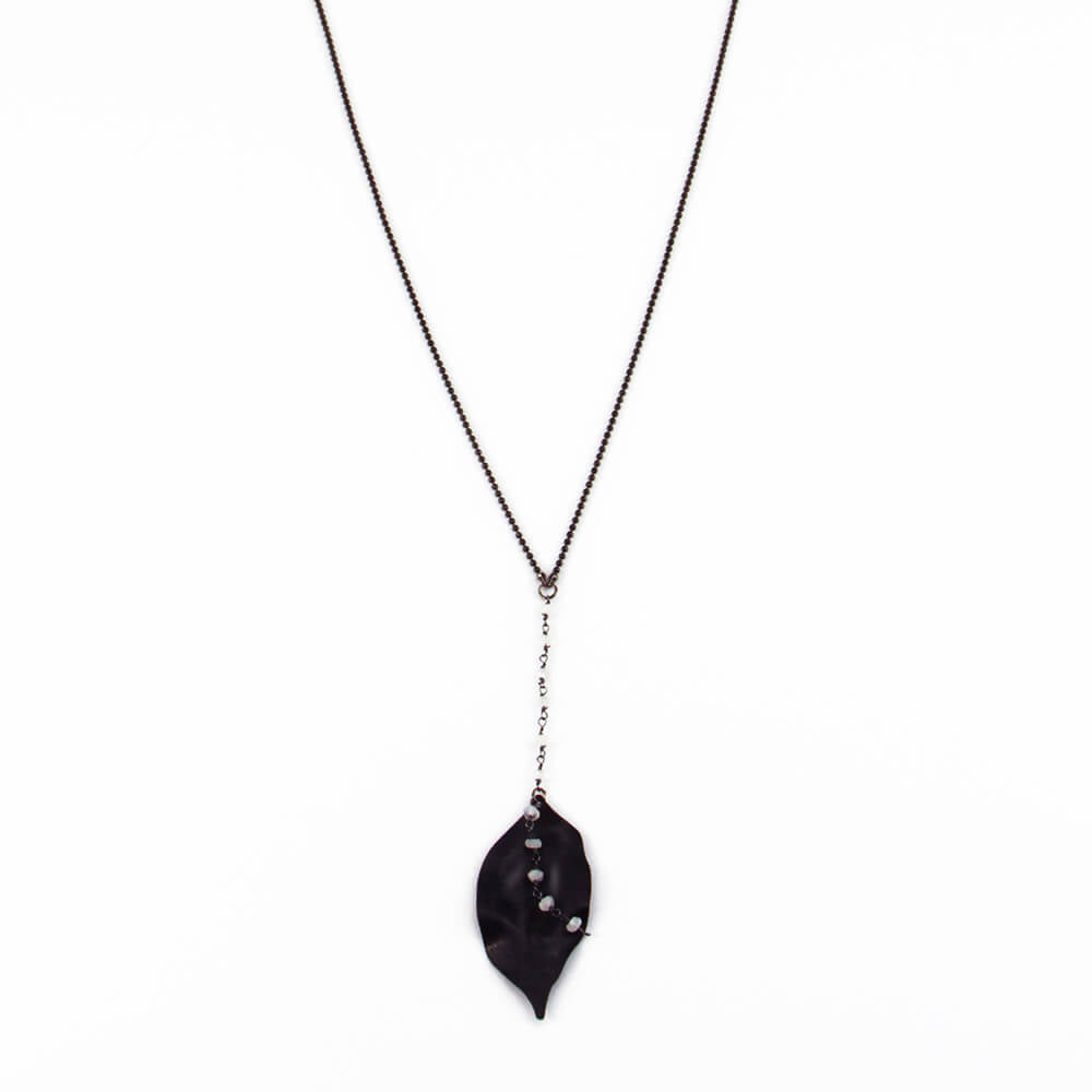 Long Black Leaf Necklace