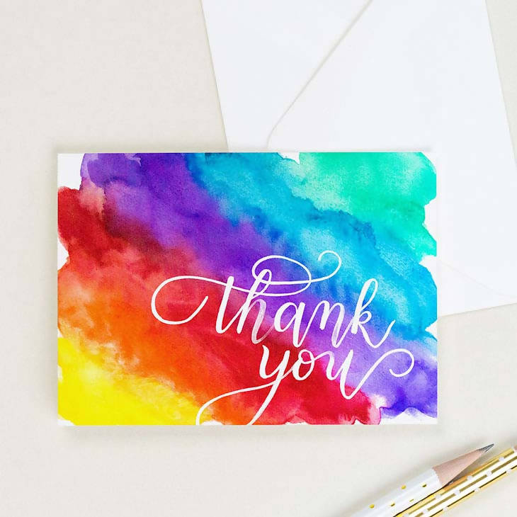 Rainbow Thank You Card, Set of 8