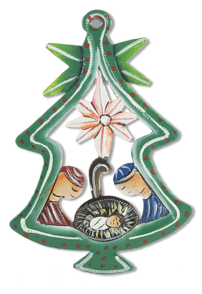 Painted Tree Nativity Ornament