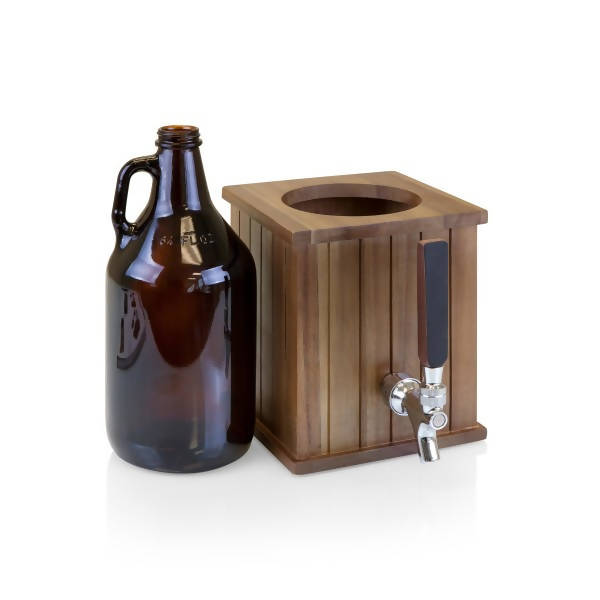 Growler Tap with 64 oz. Glass Growler, (Acacia Wood)