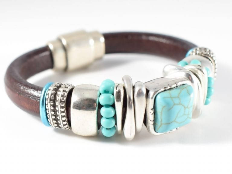 Leather and Turquoise Bangle Bracelet