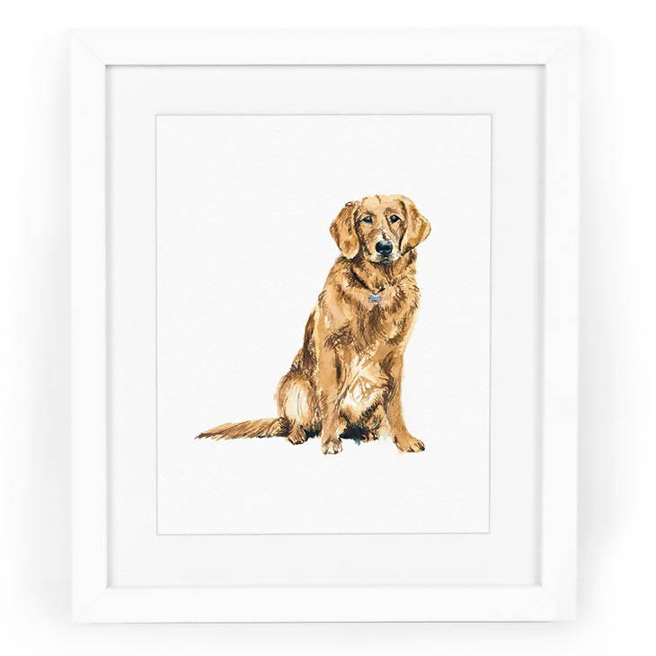 Golden Retriever Dog Watercolor Art Print