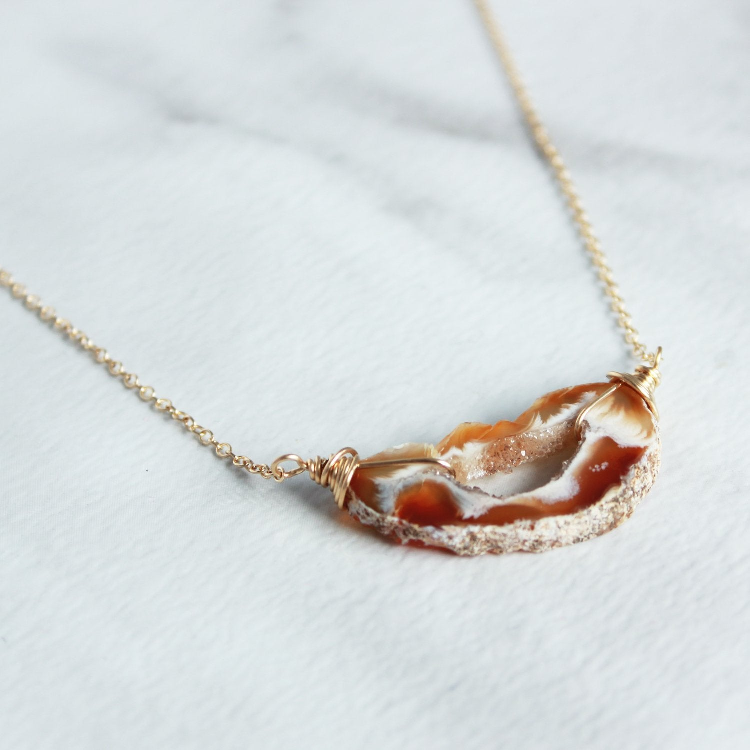 Short Wire Wrapped Geode Necklace