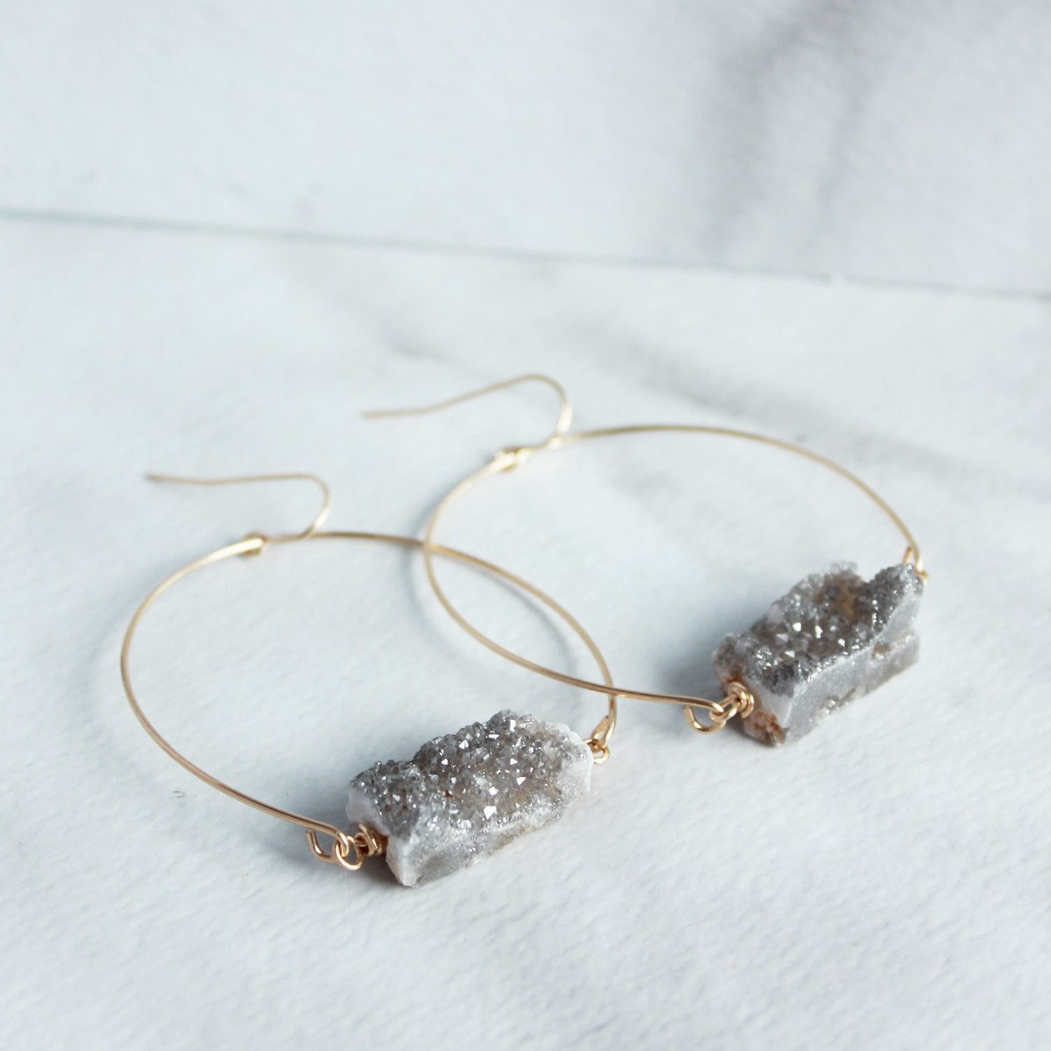 Sparkling Druzy Gold Hoops
