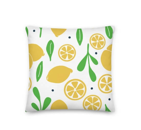 Pillow - Square Lemons & Leaves