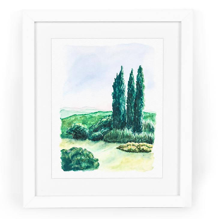 Cypress Trees Watercolor Art Print