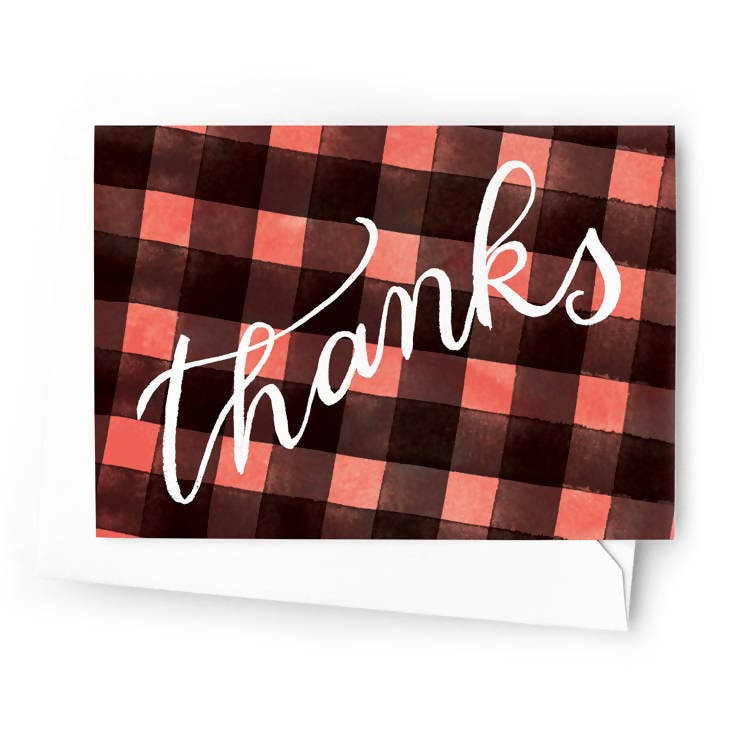 Buffalo Plaid Thank You Card, Set of 8