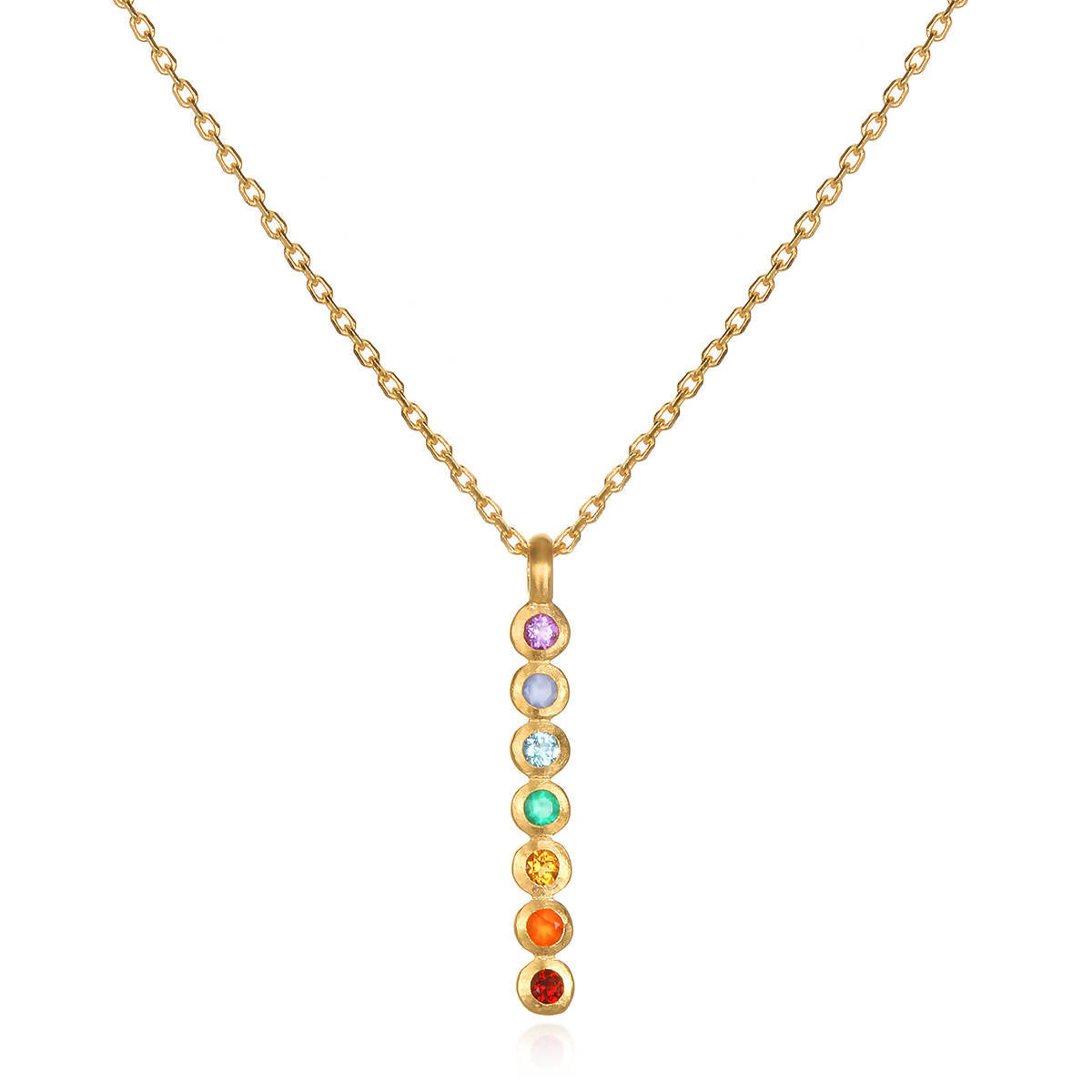 Multi Stone Chakra Stick Necklace