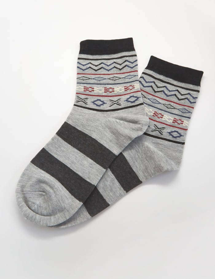Grey Patterned Socks