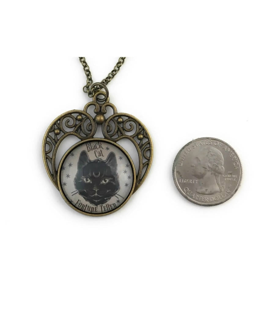 Black Cat Fortune Teller Necklace