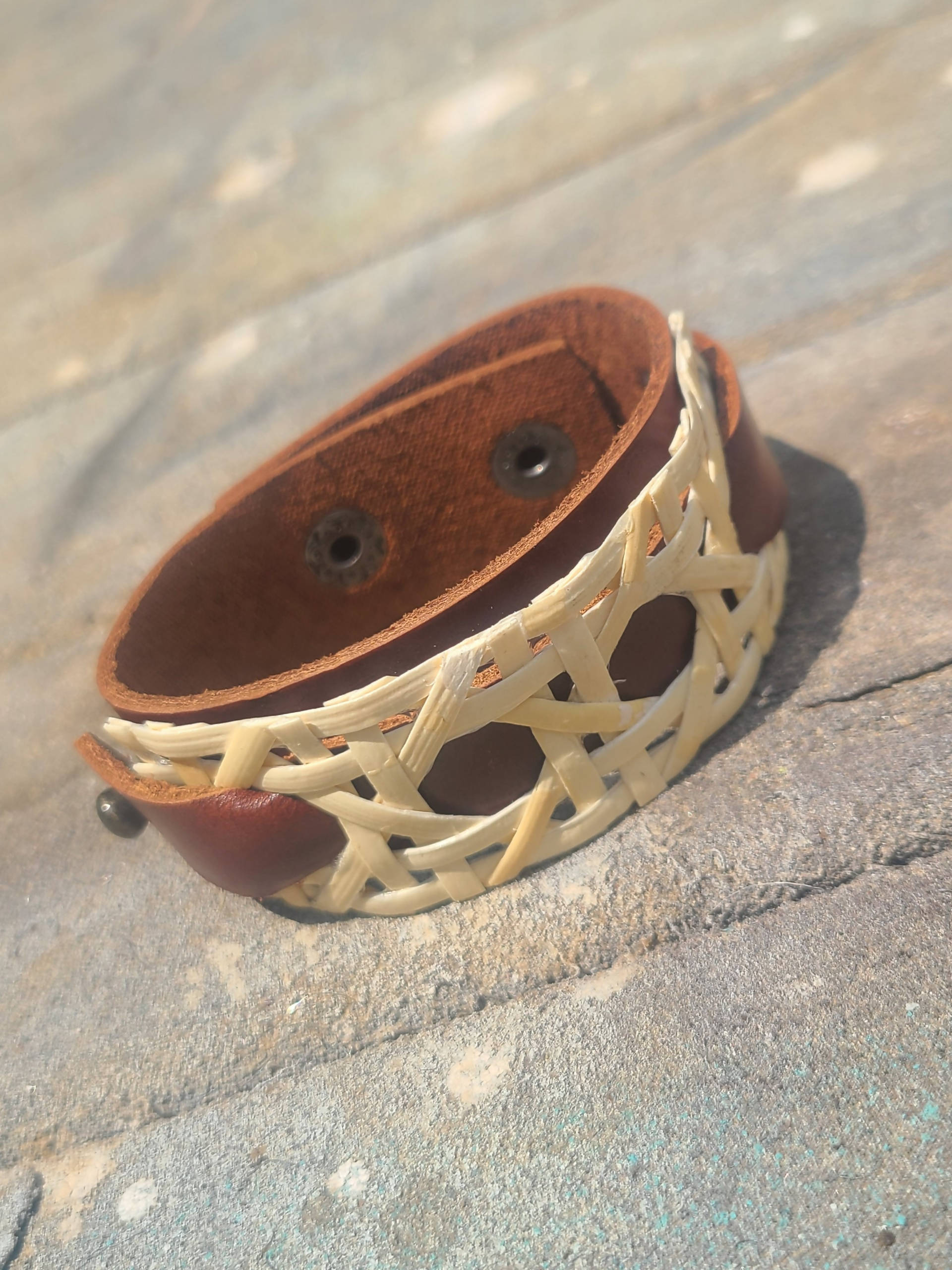 Brown Handmade Women's Leather Bracelet with Decorative Weave