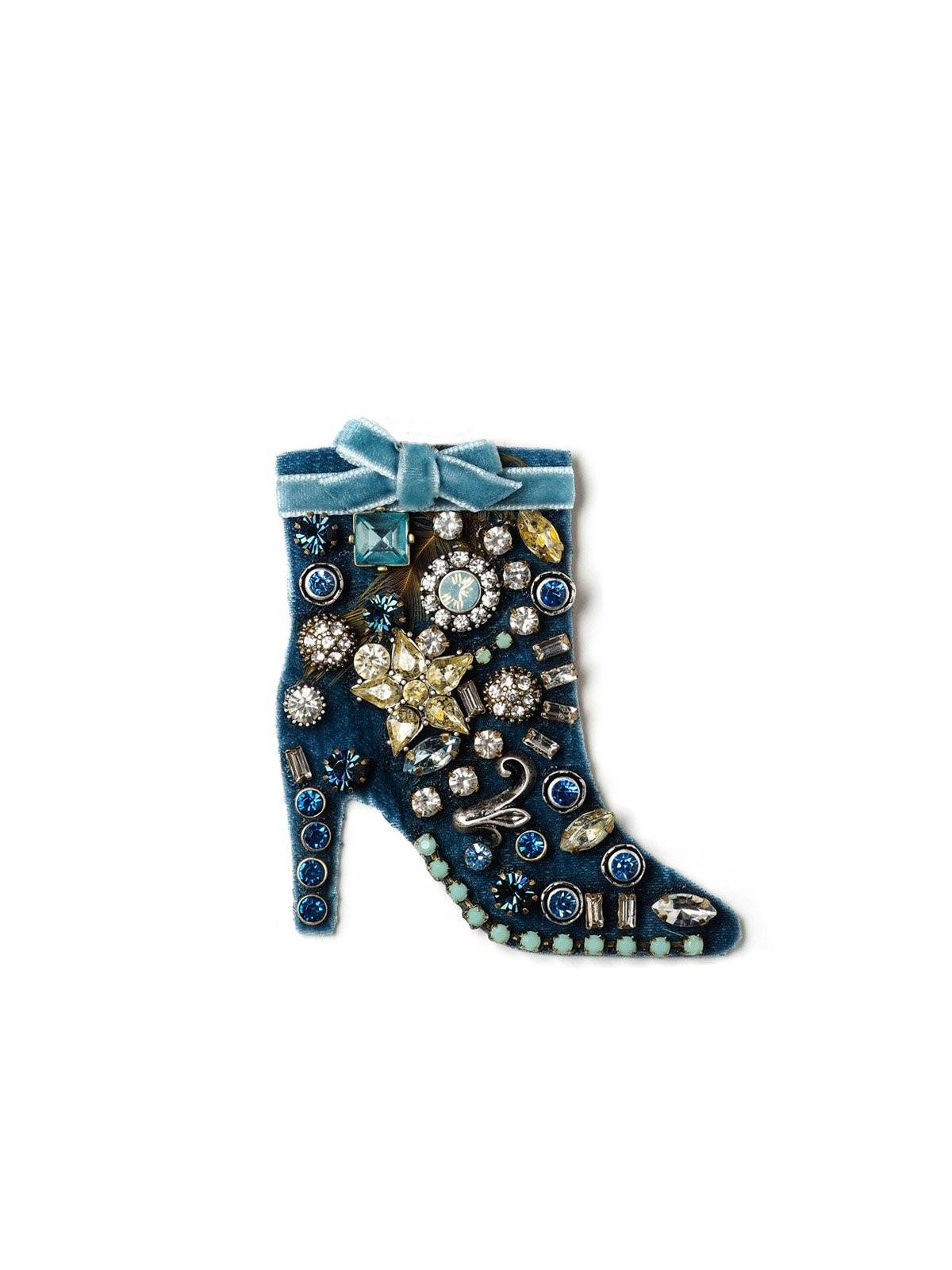 Blue Velvet Boot Holiday Pin #ORP21