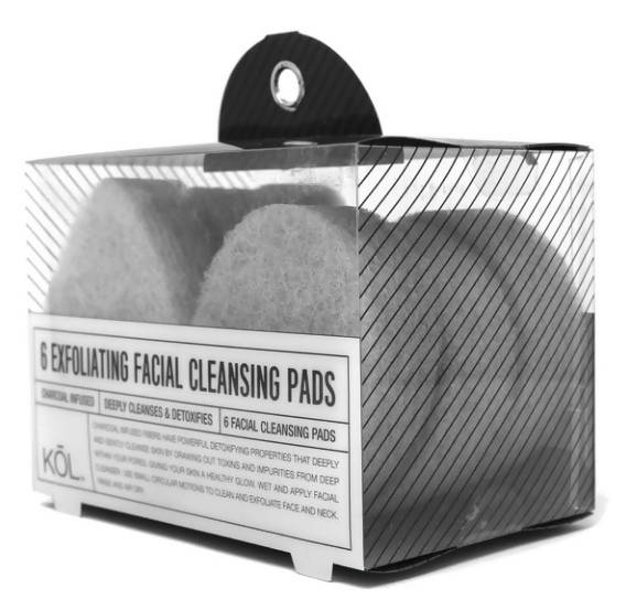 PACK OF 6 CHARCOAL INFUSED FACIAL CLEANSING PADS