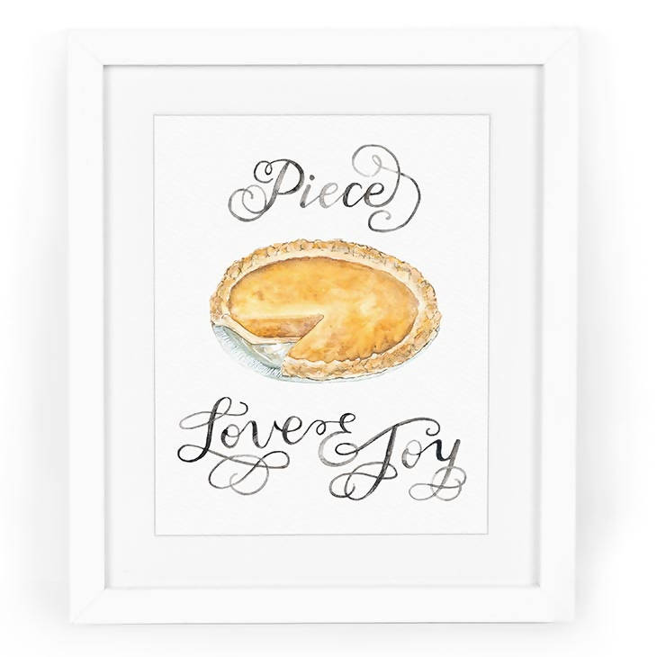 Piece Love & Joy Hand-Lettered Watercolor Art Print