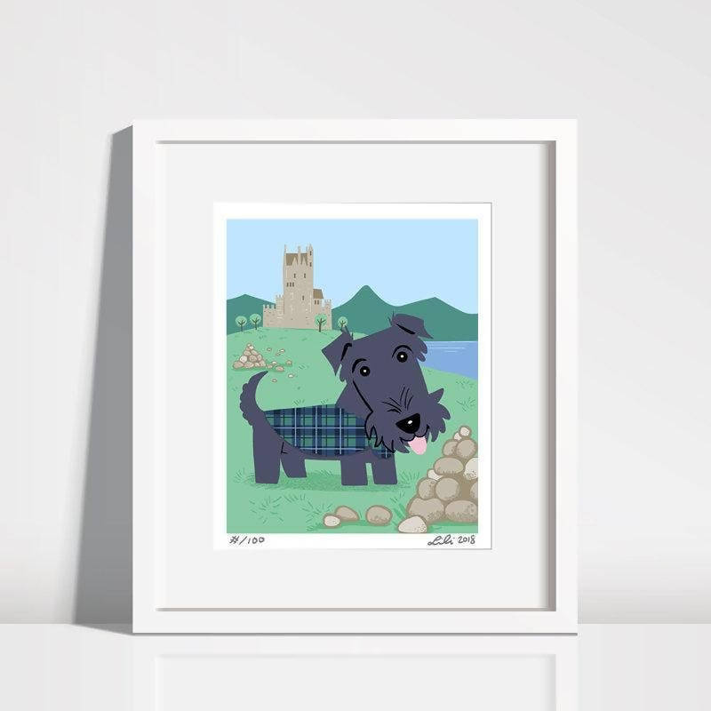 8'' x 10'' Scottish Terrier Puppy Eilean Donan Castle Art Print