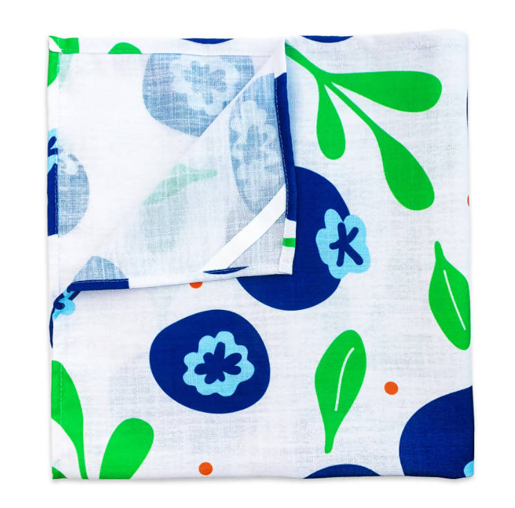 Bar Towel - Blueberry & Leaves