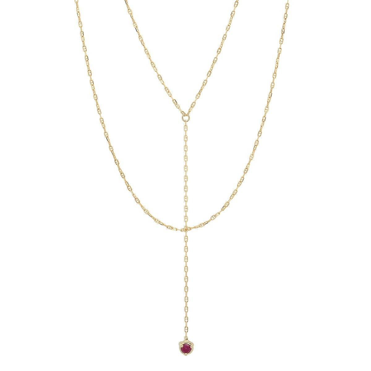 """Claw"" 14K Gold 3 Prong Double Stone ""Y-Neck"" Necklace with Rubies or Emeralds"