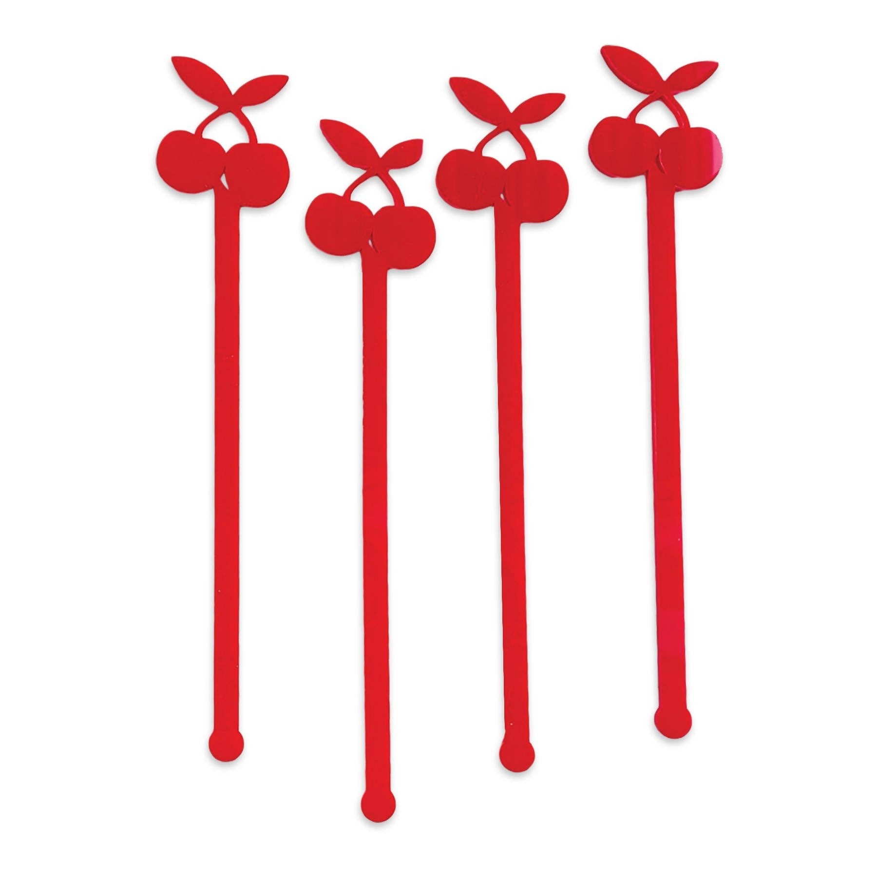 Swizzle Sticks - Cherry & Leaves Set of 4