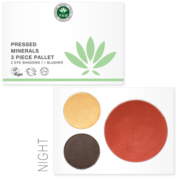 Pressed Mineral 3 Piece Palettes -- available in Day / Night / Nude - Natural Beauty Store