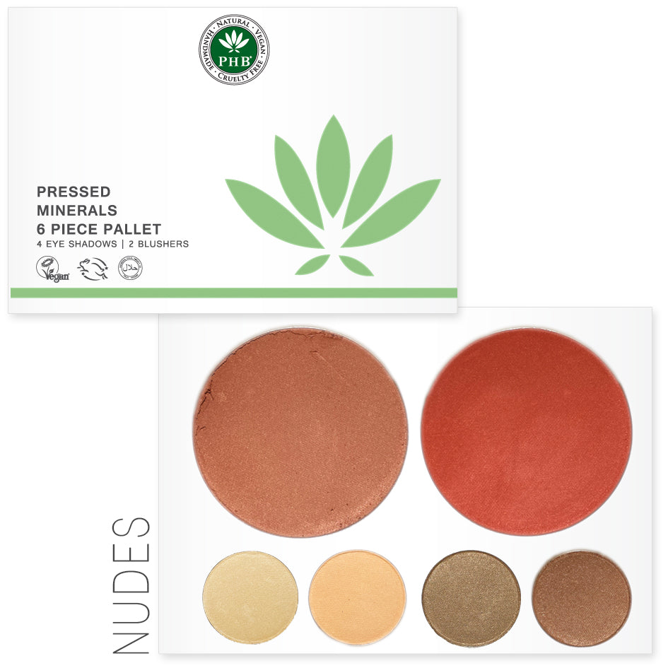 Pressed Mineral 6 Piece Palettes - available in Day / Night / Nudes - Natural Beauty Store