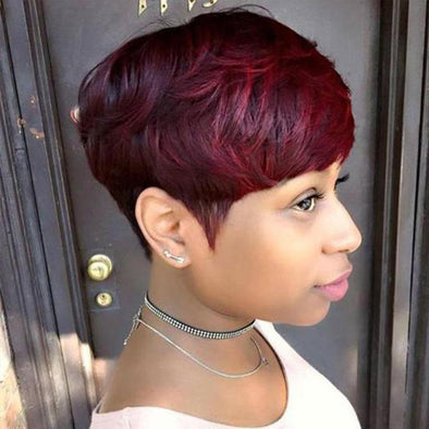 Red Wig Affordable Short Straight Layered Hair with Bangs
