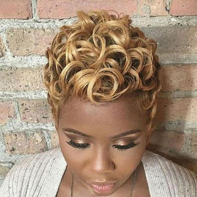 Women Fringeless Short Curly for African American