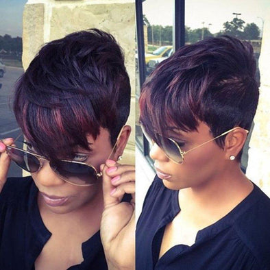 Women Short Straight Layered with Bangs