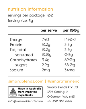 Simara Blends Turmeric - 500g ($0.35 per serve)