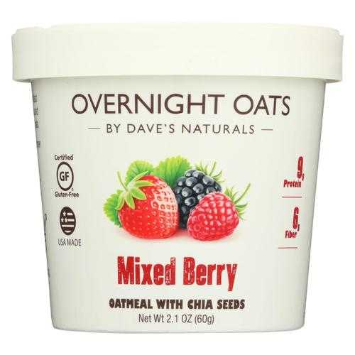 Dave's Gourmet Overnight Oats - Mixed Berry  - Case of 8 - 2.1 oz.