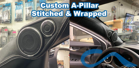 A-pillar-construction-stitched-wrapped-custom-audio-erie-pa