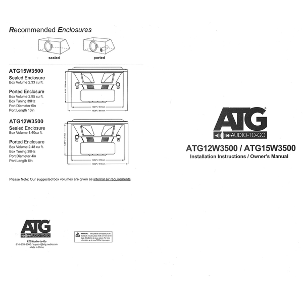 ATG AUDIO Audio to go subwoofer manual specs