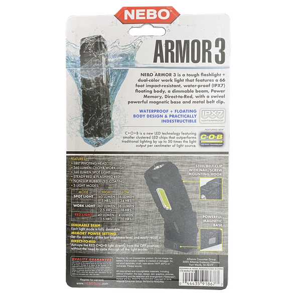 Nebo Armor 3 360 Lumen Indestructible LED Flashlight and Work Light #6785