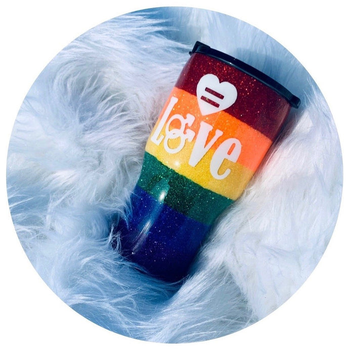 """Equality Love "" 20oz Stainless Steel Rtic Brand - Handmade with Glitter"