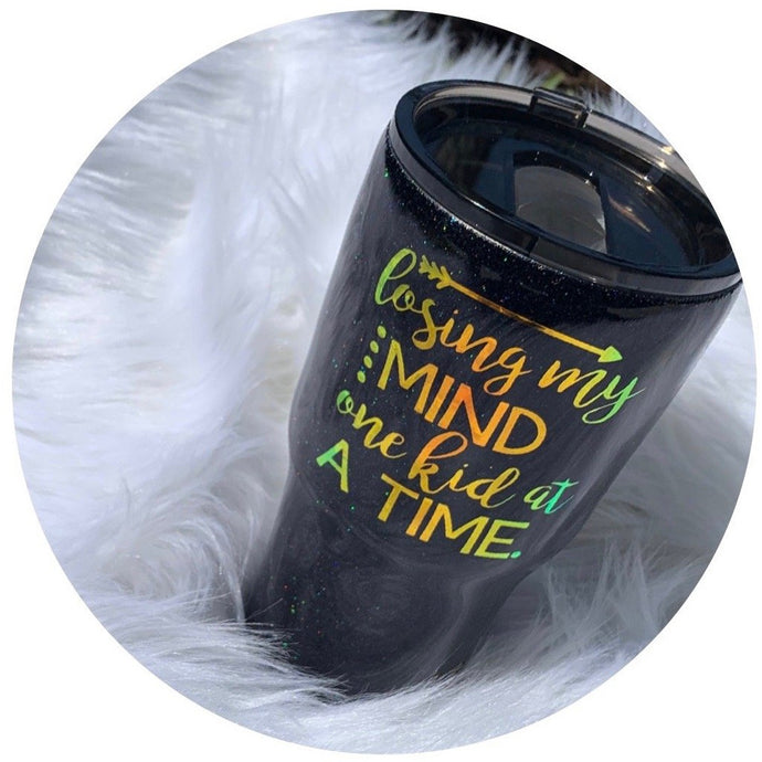 """Losing My Mind One Kid at A Time"" - 30 oz Hogg Brand Stainless Steel Tumbler - Handmade with Glitter ."