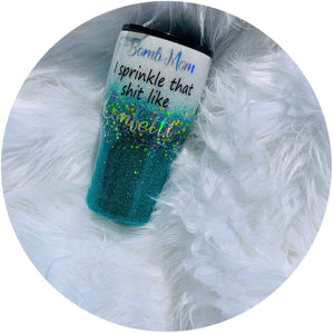 """F- Bomb Mom 2"" 20oz Stainless Steel Rtic Brand - Handmade with Glitter"