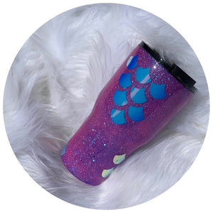 """Mermaid Scales"" 20oz Stainless Steel Rtic Brand - Handmade with Glitter"