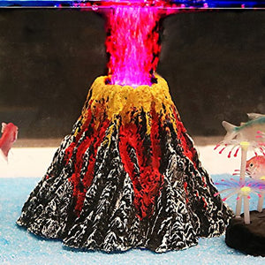 Aquarium Volcano Ornament Kit with Air Stone bubbler Fish Tank Decorations